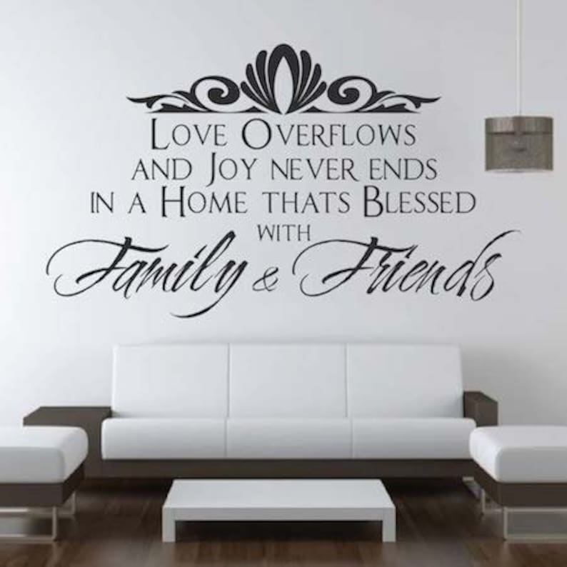 family \u0026 friends wall quote home quote sticker wall quote etsyimage 0