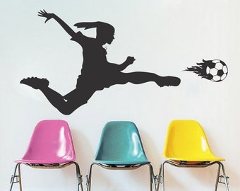 Girls Soccer Wall Decal, Soccer Girl Bedroom Design, Soccer Girl Decals, Girl Playing Soccer Murals, Removable Soccer Decals, s39