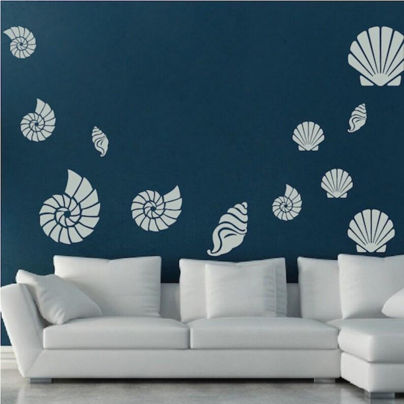seashell wall sticker decals seashell wall art stickers | etsy