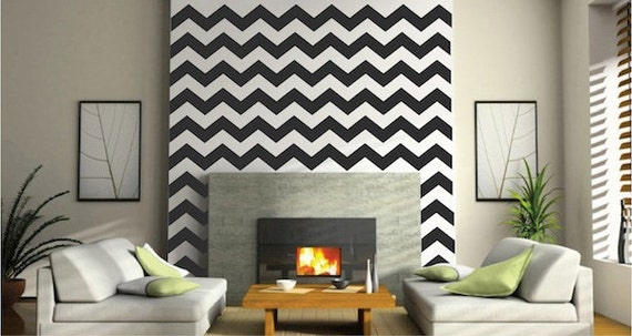 Chevron Wall Decals Chevron Bedroom Wall Decal DIY Chevron   Etsy