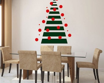 Christmas Tree Modern Wall Decal - Christmas Tree Decal - Holiday wall decal - Christmas Decor - Large Tree For Walls or Windows -  h32