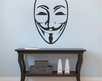 Guy Fawkes Mask Decal Sticker, V For Vendetta Mask Wall Decal, Anonymous Mask Wall Vinyl, Removable Guy Fawkes Mask Wall Decal Vinyl, g62