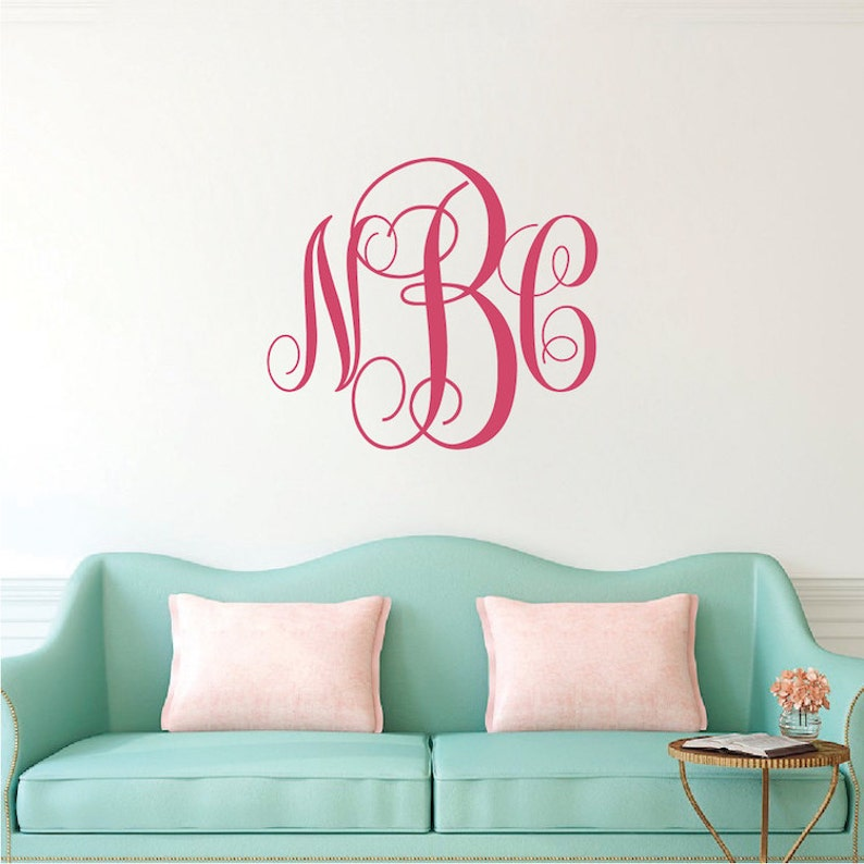 vine monogram wall decal custom letters wall decal initials | etsy