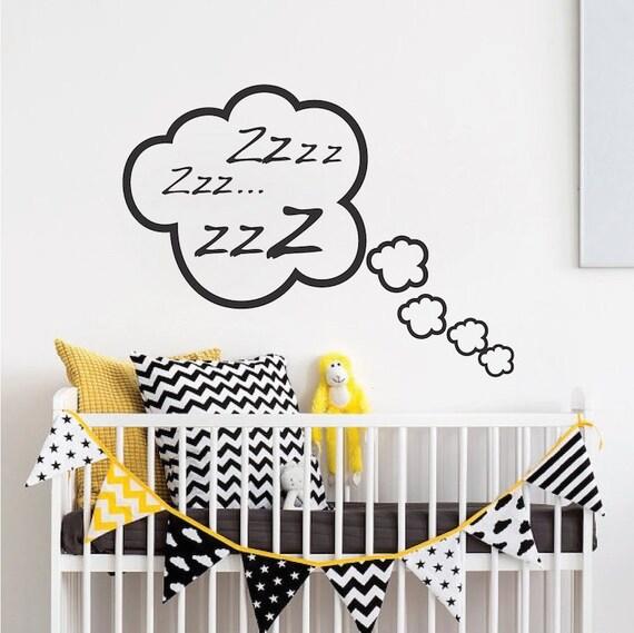 snoozing cloud bedroom wall decal sleeping wall decal | etsy