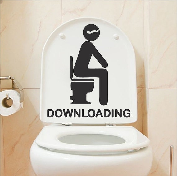Funny Toilet Peek Sign Sticker: Downloading Bathroom Decal Funny Toilet Decals Funny