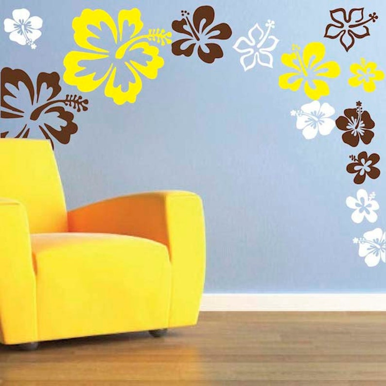 Hibiscus Flowers Wall Decals Flower Wall Decal Flower Wall Etsy