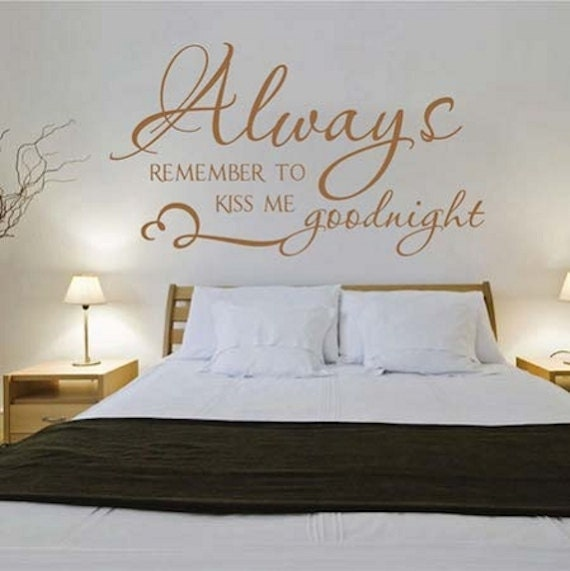 kiss me goodnight vinyl wall quote love quote stickers wall | etsy