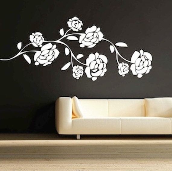 pretty flower branch vinyl wall decal nursery branch decals | etsy