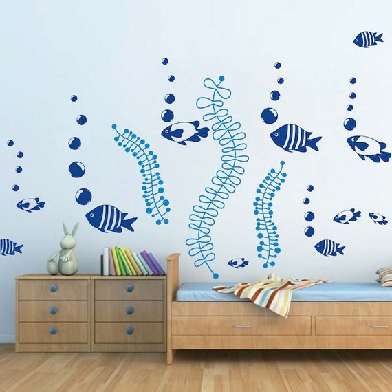 Under The Sea Wall Decals Fish Wall Stickers Removable Fish Etsy