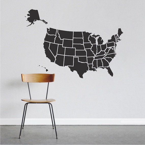 Map of USA Decal Sticker Map of USA Wall Decal USA Vinyl Wall Decal,  Removable United States of America Wallpaper Room Decal Sticker, b06