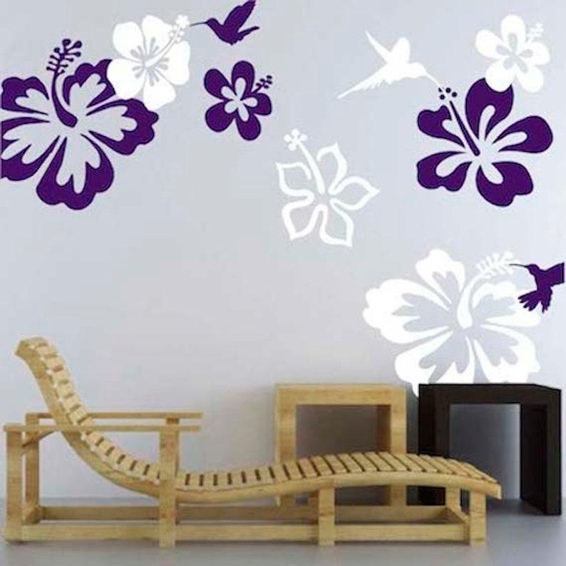 hibiscus flower decals hummingbirds murals hibiscus wall | etsy