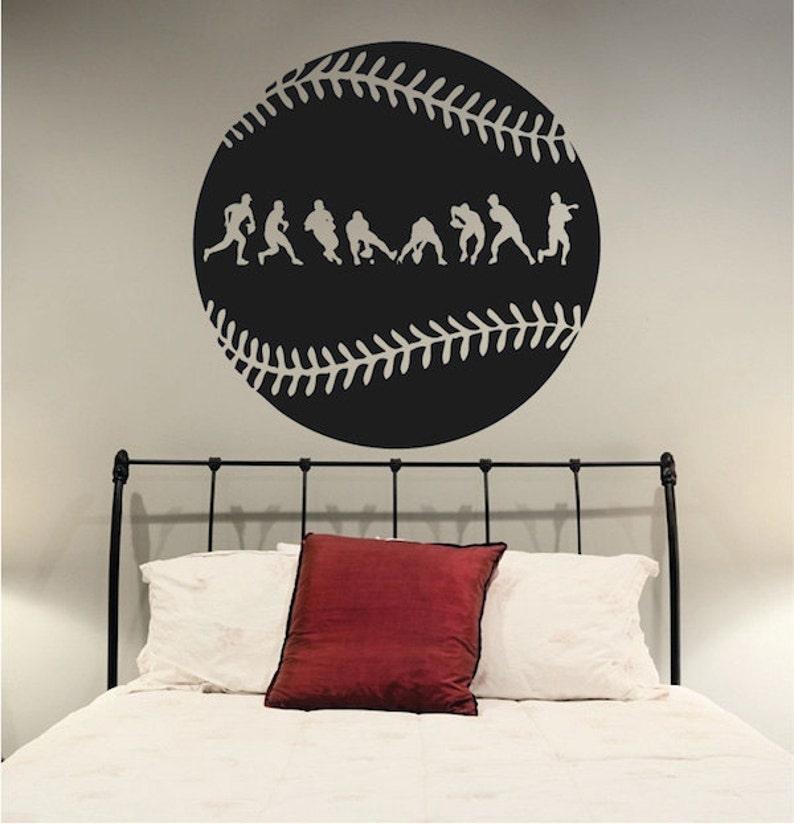 Baseball Wall Decor Baseball Wall Art Sport Mural s24 Baseball Graphics Baseball Fielder Action Wall Decal Baseball for Kid/'s Room