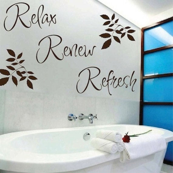 relax renew refresh vinyl wall quote bathroom wall quotes | etsy