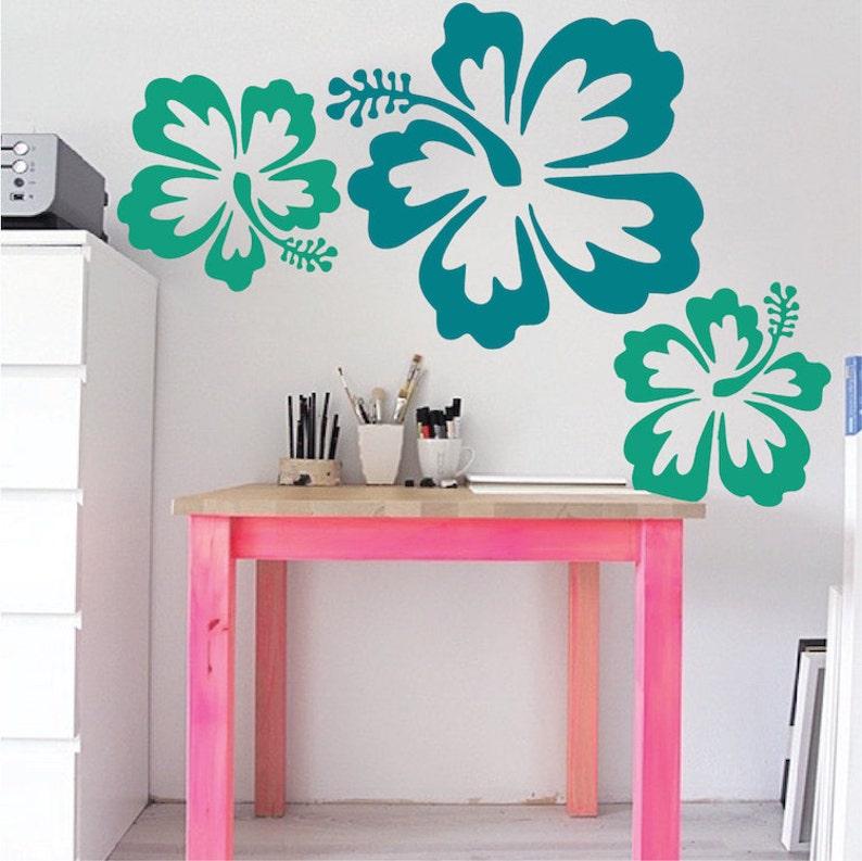 3dcb916bd4 Big Hibiscus Wall Sticker Flower designs Big Flower Wall | Etsy
