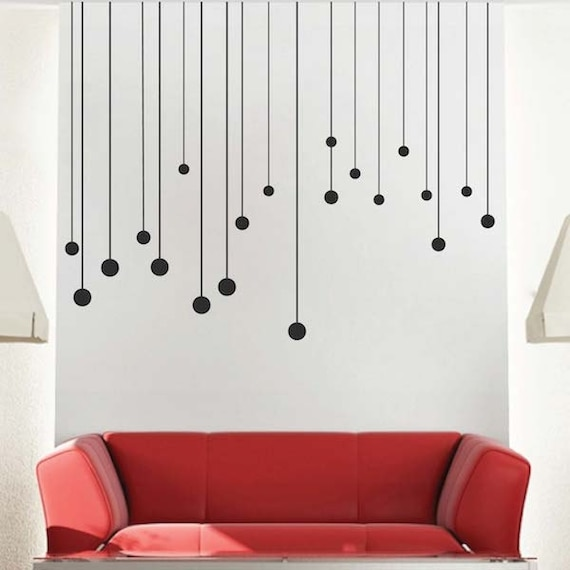 Round Drops Wall Decals Removable Self Adhesive Modern Vinyl Material Wallpaper Wall Sticker Line Pattern Decals Modern Accents C39
