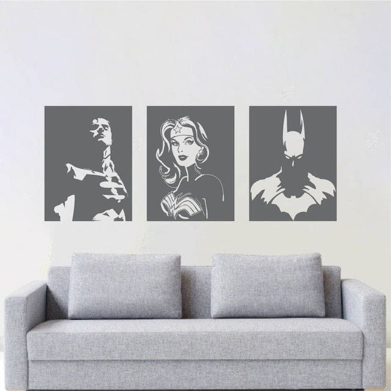Superheroes Wall Decal Batman Superman Wonder Woman Comics Super Hero Wall Justice League Vinyl Art Removable DC Comic Books Wall Art s98