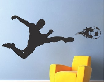 Soccer Player Wall Decal, Sports Wall Decal, Soccer Wall Mural, Soccer Kids Room Decal, Soccer Wall Decor, Soccer Wall Design, Soccer, s07