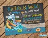 Waterpark Party Invitation Water Slide Park Digital Printable Birthday