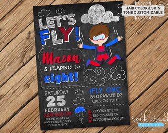 09e31a853 iFly Skydiving Invitation, iFly Birthday Invitation, Indoor Skydiving  Invitation, iFly Party, Digital Birthday Invitation