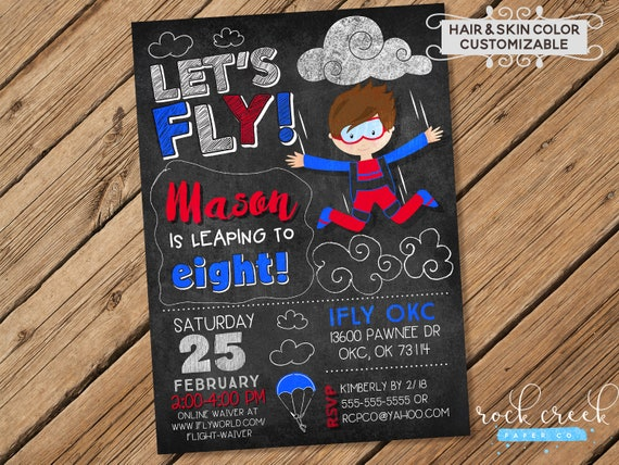 IFly Skydiving Invitation Birthday Indoor Party Digital Printable