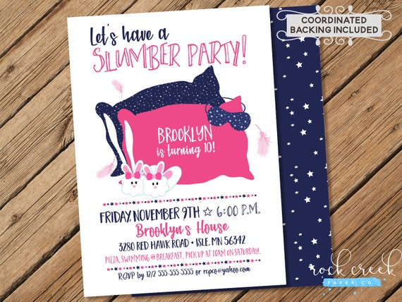 Slumber Party Invitation Sleepover Girls Night