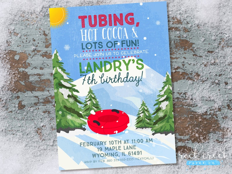 Snow Tubing Birthday Party Invitation Sledding Birthday Etsy