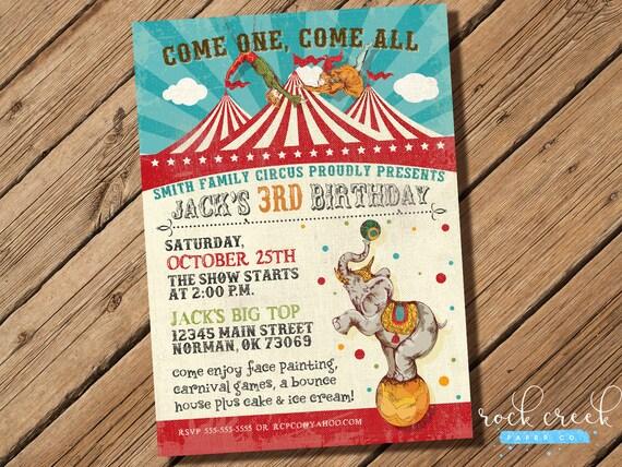 Vintage Circus Zaproszenie Urodziny Cyrkowe Big Top Party Etsy