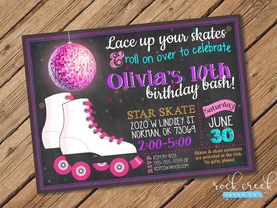 Chalkboard Roller Skating Invitation Roller Skating Birthday Etsy