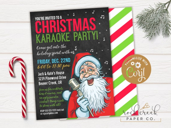 Christmas Karaoke Invitation Holiday Karaoke Party Santa Karaoke Party Digital Party Invitation Instant Access