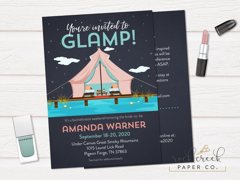 Glamping Bachelorette Invitation Camping Weekend Luxury Tent Glamp Digital