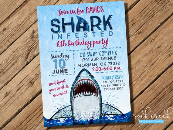 Shark Attack Invitation Party Pool Swim Printable Birthday