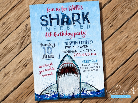 shark attack invitation shark party shark invitation shark pool
