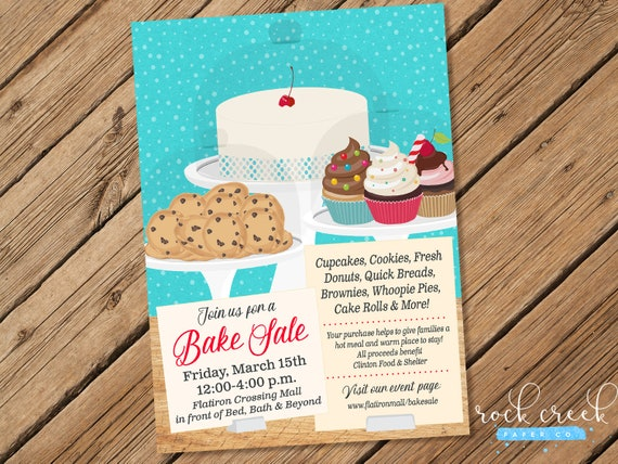 Bake Sale Flyer Bake Sale Invitation School Fundraiser Etsy