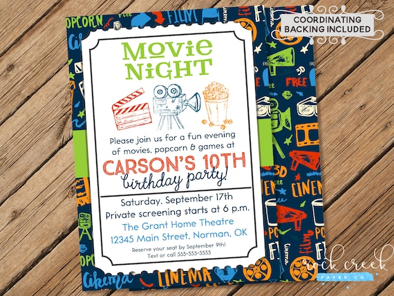 Movie Night Invitation Movie Theatre Party Cinema Invitation Home