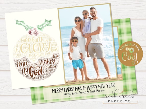 Luke 2 14 Word Art Photo Christmas Card Photo Christmas Card Christian Christmas Photo Card Peace On Earth Photo Card Instant Access By Rock Creek Paper Co Catch My Party