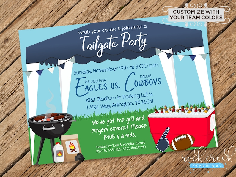 Tailgate Party Invitation Tailgating Party Football Watch Etsy
