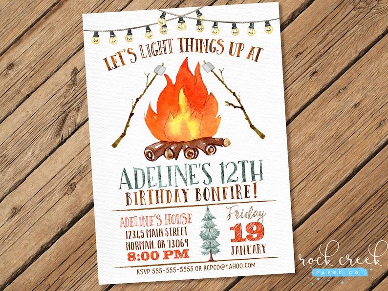 Watercolor Bonfire Invitation Camping Invitation S Mores Etsy