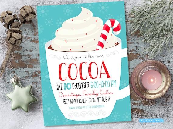 Hot Cocoa Invitation Eggnog Invitation Holiday Party Invitation