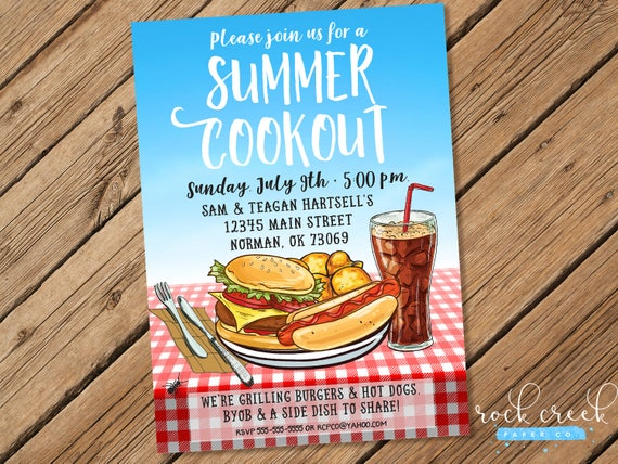 summer barbecue invitation summer cookout invitation etsy