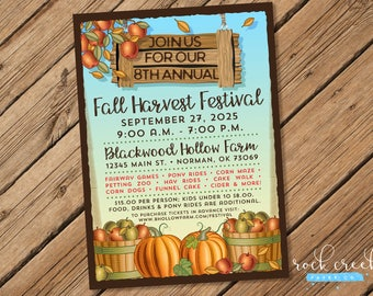 Fall Festival Invitation, Autumn Harvest invitation, Fall Celebration, Autumn Festival, Farm Festival, Printable Event Invitation