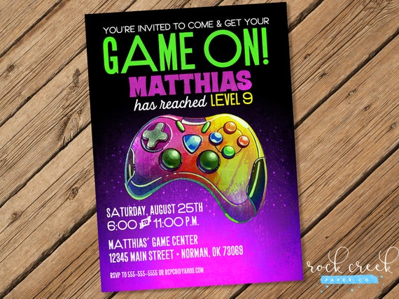Gaming Party Invitation Truck Birthday Printable