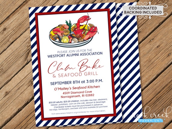 Clam Bake Invitation Seafood Boil Low Country New England