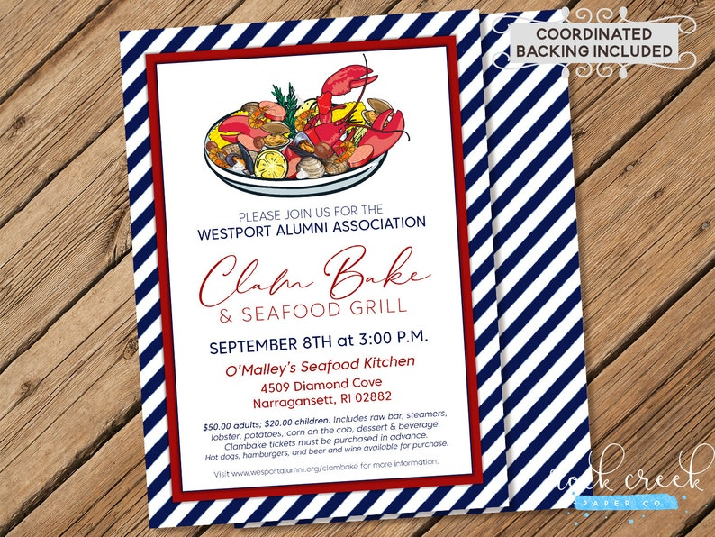 Clam Bake Invitation Seafood Boil Low Country Boil New Etsy