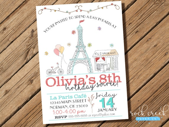 Parisian Soiree Birthday Invitation Paris Party Eiffel
