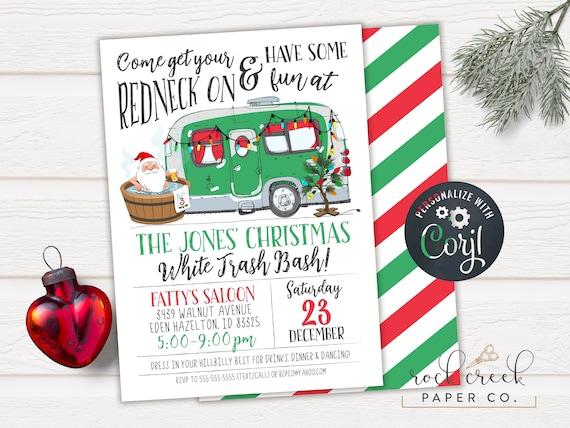 White Trash Christmas.White Trash Bash Invitation Redneck Hootenanny Invitation