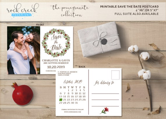 Pomegranate Wedding Invitations: The Pomegranate Collection Save The Date Postcard