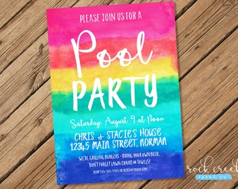 Summer Pool Party Invitation, Beach Party Invitation, Summer Party Invitation, Swim Party Invitation, Printable Party Invitation