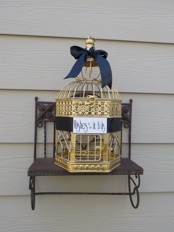 Well Wishes for the Mr & Mrs, Bridal Wishing Well Bird Cage Card Holder, Birdcage Card Box, Shower Supplies, Wishing Well, Custom Colors