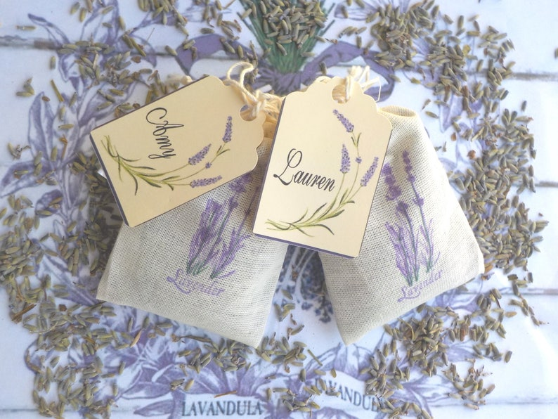 Lavender Wedding Favors Baby Shower Lavender Shower Favors Lavender Placards 25 Lavender Sachets w Personalized Tags