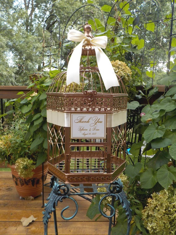 Large Rose Gold Bird Cage Wedding Money Holder Personalized Etsy
